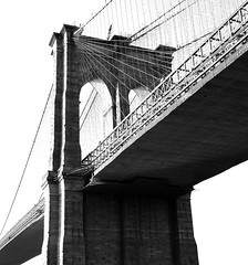 Bridge Span (explored) (pjpink) Tags: nyc newyorkcity bridge summer blackandwhite bw newyork september brooklynbridge span 2014 pjpink