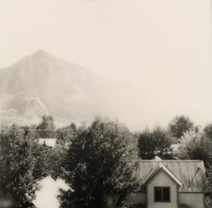 view from the elk mountain lodge (lawatt) Tags: mountain film town colorado instant slr680 crestedbutte theimpossibleproject bw600gen2