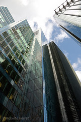 Office tower at 25 Ropemaker, City of London, England (Roberto Herrett) Tags: green tower vertical skyscraper outside rising office exterior towers nobody offices stockphoto ropemaker lowangleview viewedfrombelow dramamtic 25ropemaker rherrettflk