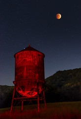 Blood Moon & Water Tower (mikeSF_) Tags: sanfrancisco california longexposure sky moon lightpainting tower water night dark stars photography bay eclipse pentax clayton canyon astrophotography mitchell concord lunar pittsburg hunters k5