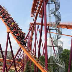 (Alissa Hankinson) Tags: red summer orange motion metal fun track ride vivid downhill amusementpark rollercoaster coaster turns thrill exciting plummet 2014 thrilling