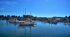 Panorama of the Docks (Kirt Edblom) Tags: ocean vacation panorama beach water oregon sailboat docks river boats coast boat nikon waves pacific scenic hike pacificocean wife boardwalk coastline oregoncoast bandon hdr highway101 2014 gaylene easyhdr couquille nikond7100 panoramamaker6 couquilleriver