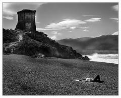 Biker girl resting (Wilco1954) Tags: france tower beach tour corse corsica pebbles plage sunbathing bikergirl marinedalba