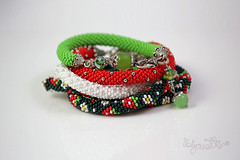 IMG_0798 (Bijouette) Tags: blue red white cute green metal happy beads mix crystals czech bright handmade crochet seed jewellery bracelet easy colourful crocheted bohemian stylish girlish