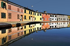 8 mm on the water (Nespyxel) Tags: reflections mirror vanishingpoint alone village angle wide walker 8mm riflessi simmetria specchio emiliaromagna simmetry comacchio nespyxel stefanoscarselli