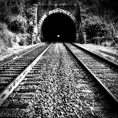 depths (eb78) Tags: sf sanfrancisco california ca railroad blackandwhite bw monochrome caltrain traintracks tracks railway tunnel bayview grayscale greyscale iphone iphoneography