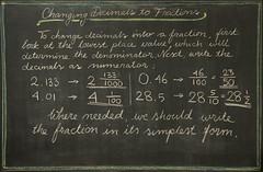 5th Grade: Math; Fractions: changing a decimal number into a fraction (ArneKaiser) Tags: 5thgrade autoimport edited mrkaisersclass pineforestschool waldorf waldorfjourney chalk chalkboard math flickr