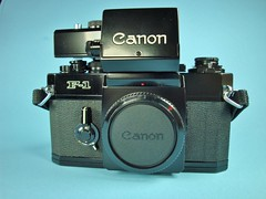 Canon F-1 with Booster T Finder (Carol and Chris Photography 74) Tags: camera black slr classic film 35mm canon logo t body f1 1970s finder booster