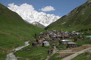 Ushguli, Shkhara mountain in the background