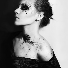Fill The Silence II (Sabine Fischer) Tags: portrait selfportrait dark paint fineart expressive conceptual emotive darkart