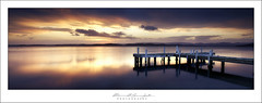 Squids Ink Sunset (Maxwell Campbell) Tags: sunset panorama lake seascape reflection newcastle landscape photography pier belmont jetty australia panoramic nsw lakemacquarie squidsink maxwellcampbell