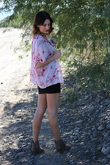 Urban Jewell (Studio LXV) Tags: road pink flowers trees arizona sun black mountains field grass fashion fence cherry necklace shoes dress jean mud boots little blossom lace turquoise south country style dry ombre dirt leopard wires denim vans accessories vest ornate baroque combat barbed outfits headband lbd kimonos ootd