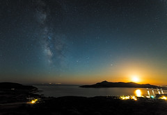 Deepness Dawn - Pt.III (Christophe_A) Tags: sea sky moon night nikon nightshot tripod greece galaxy astrophotography christophe cyclades antiparos galactic milkyway 14mm agiosgeorgios samyang nikond800 christopheanagnostopoulos