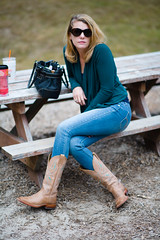 _MG_4997-123 (k.a. gilbert) Tags: sunglasses outside outdoors legs mother naturallight thighs stems kristen wife handheld fullframe milf manualfocus calves cowboyboots wideopen gams skinnyjeans manualaperture rokinon85mmf14 canon5dc