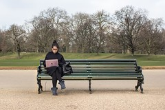 Hot desk (EyeOfTheLika) Tags: ifttt 500px bench seat park daylight people outdoors tree landscape girl portrait recreation happiness grass lifestyle work hot desk lika london computer laptop apple street photography hyde pink