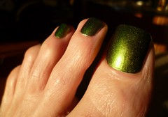 In honor of Saint Patrick's Day! (toepaintguy) Tags: male guy men man masculine boy nail nails fingernail fingernails toenail toenails toe foot feet pedi pedicure sandal sandals polish lacquer gloss glossy shine shiny sexy fun daring allure gorgeous green st saint patrick color changer ilnp shimmer
