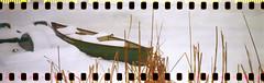 Icy Lake - 1933 Kodak Jiffy (No Stone Unturned Photography) Tags: kodak jiffy folding camera art deco 1933 six16 616 35mm expired film sprocket holes panaorama ferrania solaris 200 moab utah snow ice lake canoe boat pond winter