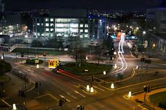 Leeds at night (ambeizzi) Tags: leeds city centre night dark yorkshire canon girl 24105 light trail car headlight headlights ambulance emergency roundabout traffic building park arial