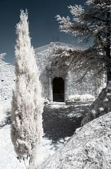 Le Prieuré de Sainte-Victoire (Lolo_) Tags: ir provence infrared montagne saintevictoire prieuré if infrarouge mont venturi chapelle notredame cyprès france