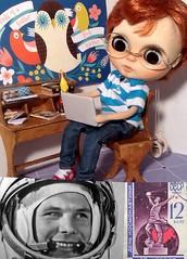 Blythe-a-Day April#12 Space - Cosmonautics Day&#19 Chicken/Wubba:Peanut, Mr. Wubba & Yuri Gargarin