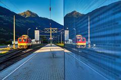 DSC07264 (railjet531@gmx.at) Tags: spiegelbild spiegel mirror greifenburg weisensee weissensee österreich austria kärnten zug train lok x552 öbb eisenbahn railway railroad abend sonnenuntergang drautal drautalbahn outdoor