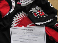 shoulder patch and WHJ LOS (kirusgamewornjerseys) Tags: whl game worn jersey ice hockey jesse shynkaruk moose jaw warriors