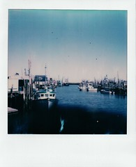 Doxie 0179 (thereisnocat) Tags: impossibleproject beta beta30color sx70 polaroid boats harbor belford middletown monmouthcounty newjersey nj