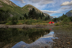 Camping, the traditional way. (Siggi007) Tags: landscape paysage motorbike motorcycle motorrad reflections reflection mountains mountainside sky clouds mountain landschaft green lake water trees tree bmw gsa1200 beautiful mood tranquil peaceful driving tent camping outdoors living life lifestyle relaxing ride scenery scandinavia farben colors canoneos6d colores norway norwegen norge noruega camp nature canon valley