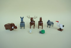 Tablescrap Animals Part 2 (-Balbo-) Tags: lego moc wild boar donkey stark stag deer wolf rabbit turtle creation bauwerk stork balbo animals