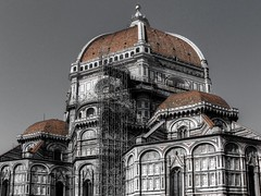 Florence Cathedral (Rik Tiggelhoven Travel Photography) Tags: florence firenze italy italië europe europa duomo cattedrale santa maria fiore architecture building saint mary flowers unesco world heritage site hdr selective colors duo tone olympus sp590uz rik tiggelhoven travel photography brunelleschi gothic basilica baptistery campanile giotto dome