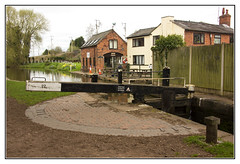 The Lock Gate (Audrey A Jackson) Tags: canon60d canal lockgate houses cafe greathaywardjunction trees grass flowers