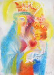 Our Lady of The Sacred Heart. 2017 by Stephen B. Whatley (Stephen B. Whatley) Tags: art expressionism pastel drawing peace love healing motherchild maryjesus ourladyofthesacredheart thesacredheart thesacredheartofjesus catholic france christian catholicart expressionistart contemporaryart modernart prayer blessedvirginmary stephenbwhatley artiststephenbwhatley whatley stephenwhatley abigfave blueribbonwinner