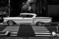 Impala (Carrie McGann) Tags: car impala chevrolet 1958 sacramento crosswalk notamono pleasedontcallthisamono thereisnocolor itsblackwhite 040117 nikon interesting