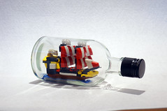 Tiny black seas barracuda in the bottle (Bangooh) Tags: bottle lego pirate ship