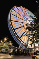 Wheel (Chaitanyabn) Tags: wheel ferriswheel colors colours colour color colorful colourful cold light painting lookup love lovely slow shutter long exposure night sky trees recreation park lights spin around circle big travel