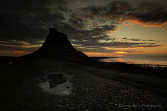 REFLECTING THE DARK SIDE  (EXPLORED) (lynneberry57) Tags: seascape landscape holyisland lindisfarne northumberland coast sunrise reflection sun colour clouds nature castle light beauty peaceful tide water sky weather cobbles history dawn