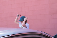 (Taran W) Tags: pink wall blue hat red lanyard gray car people portrait light shadows