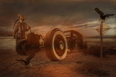 Wheels (brian_stoddart) Tags: surreal sky car transport spooky post figure birds desert texture light