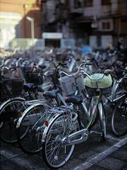 Bike Parking (RunnyInHongKong) Tags: mamiya645protl mediumformat nikoncoolscan9000 positive mamiyasekor80mmf19 tokyo fujiastia100f asakusa nikonscan41 japan film 6x45