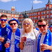 City fans Joe, Harry, Annabel and Tom soaking up the sun with a beer in Plaza Mayor before the game