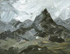 A Mountain - Original Landscape Painting by Steve Greaves (Steve Greaves) Tags: art artwork modern contemporary landscape mountain snowdonia wales welsh cymru hills clouds sky grey black white yellowochre rock impasto allaprima paintingknife paletteknife barnsley artist investment forsale kyffin kyffinwilliams vincent vangogh impressionism expressionism impressionist expressionist romantic poetic mdf british britain texture composition countryside