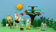 Happy Easter everyone🐰 (Alex THELEGOFAN) Tags: lego legography minifigure minifigures minifig minifigurine minifigs minifigurines animals animal goat chicken ostrich tree bush egg golden gold happy easter rat eggs carrot apple