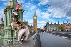 Westminster Bridge Remembrance (cuppyuppycake) Tags: westminster bridge remembrance easter sunday attack big ben london england uk flowers memorial spring