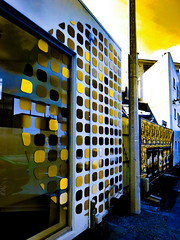 I Am Pressing All the Buttons Feverishly (Steve Taylor (Photography)) Tags: button art digital architecture poster black blue yellow brown newzealand nz southisland canterbury christchurch city cbd sky vibrant