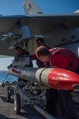 170422-N-VN584-740 (U.S. Pacific Fleet) Tags: usstheodoreroosevelt cvn71 vn584 alex corona sailors ao aviationordnance advancemediumrangeairtoairmissile ea18ggrowler cougars electronicattackstrikesquadron vaq 139 flightdeck underway