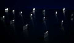 degrees of enlightenment (Reflectory Images) Tags: reflections sunlight metal reflectors black white blue blackbackground rectangles diamonds rows pattern horizontal landscape abstract minimal abstraction minimalism nonobjective reflectory