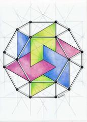 20170420 (regolo54) Tags: polyhedra solid hexagon symmetry geometry mathart regolo54 handmade pastel ink escher star