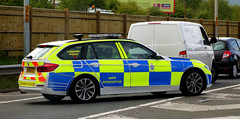 M53 Accident Cheshire Police DX66 EEZ (sab89) Tags: m53 accident crash northwest motorway police vehicle bmw 5 series estate d cheshire poilce dx66 eez anpr intercepter blue light incident