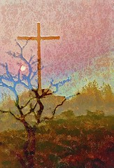 Testament (Pejasar) Tags: mountain baretree sunset textured glazeapp topaz photoshopped doubleexposure cross burningbush old new testament artistic art westafrica ghana amedjofe mtgemi