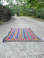Another view of the striped scrap crochet afghan (crochetbug13) Tags: crochet crocheted crocheting crochetrectangle singlecrochet scrapcrochet crochetstripes crochetafghan crochetblanket crochetthrow